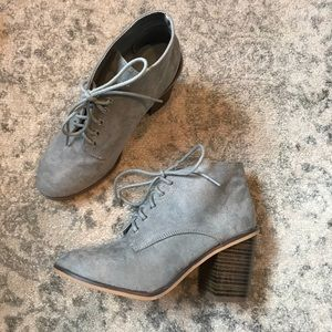 Quipid Gray Lace up Ankle Booties
